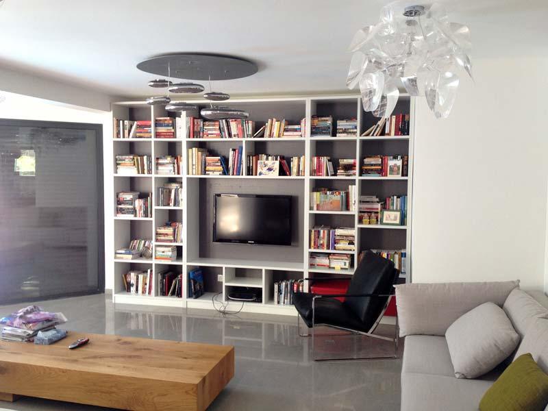 מסך טלוויזיה בארון ספרים