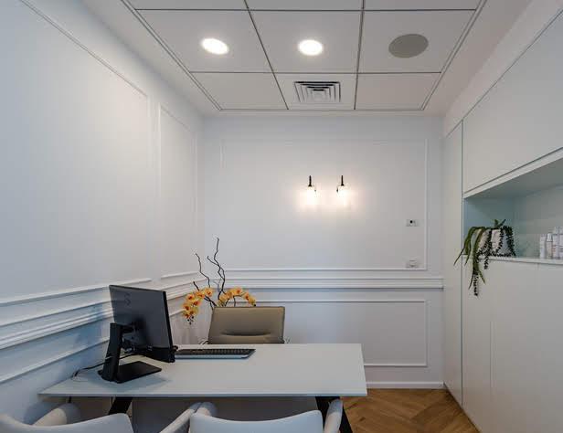 רמקולים שקועים בתקרה במשרד